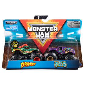 Monster Jam, Official Dragon vs. Jester, 1:64 Scale, 2 Pack