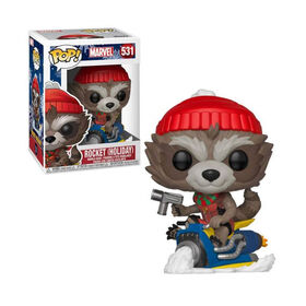 Funko POP! Movies: Marvel - Holiday Rocket Raccoon On Sled