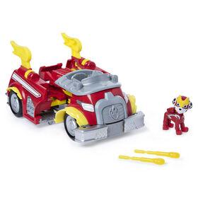 PAW Patrol, Mighty Pups Super PAWs, Camion de pompier Powered Up transformable de Marcus