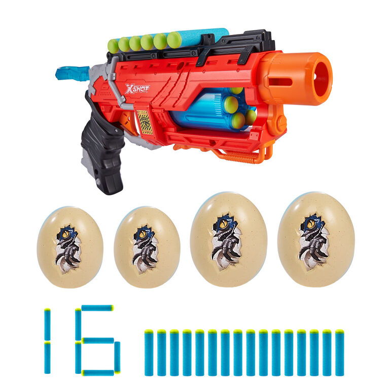 X-Shot Dino Attack Dino Striker Foam Dart Blaster (16 Darts, 4 Eggs)