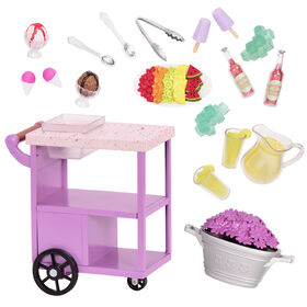 Our Generation, Patio Treats Trolley, Rolling Play Food Cart for 18-inch Dolls