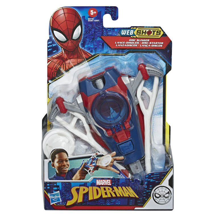 Marvel Spider-Man Web Shots Gear blaster jouet Lance-disques, inclut 3 projectiles arachnéens
