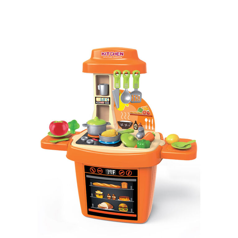 Toy Chef Children's Chef's Kitchen Block Set With Interactive Lights & Music