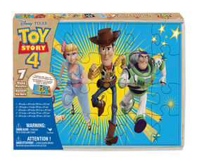 Toy Story 4, 7-Pack Wood Puzzles with Wood Storage Tray