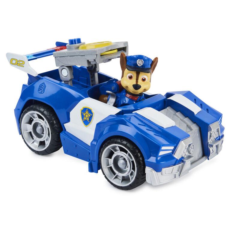 PAW Patrol, Véhicule transformable de luxe du film avec figurine Chase articulée à collectionner