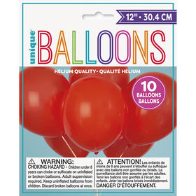 """12"""" Latex Balloons, 10 pieces - Ruby Red"""