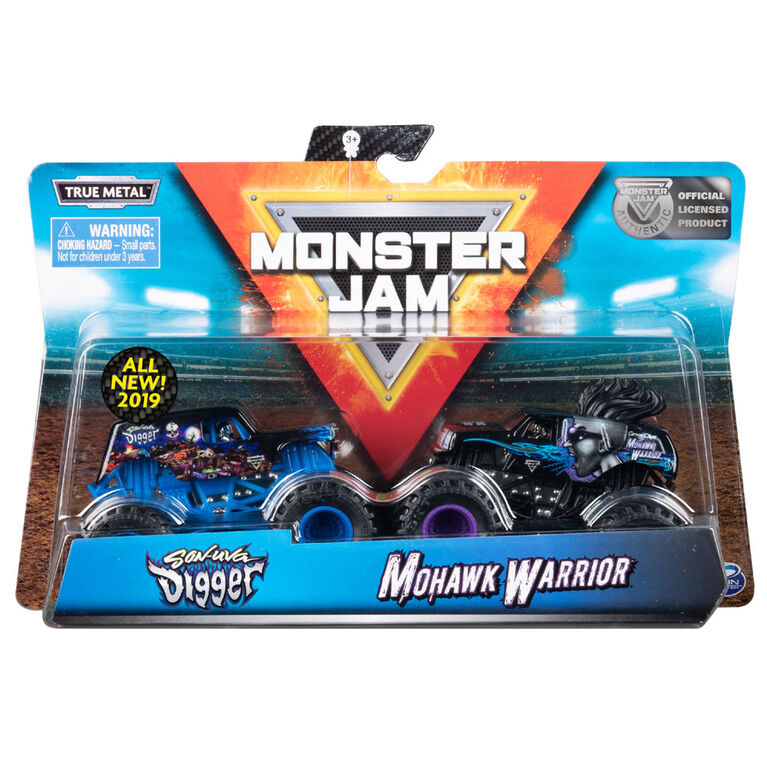 Monster Jam, Official Son-uva Digger vs. Mohawk Warrior Die-Cast Monster Trucks, 1:64 Scale, 2 Pack