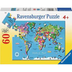 Ravensburger - Carte du monde Casse-Tête (60 pc)
