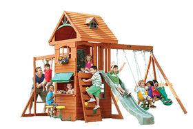 KidKraft Ridgeview Deluxe Clubhouse Wooden Swing Set - R Exclusive