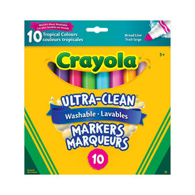 Crayola - 10 ct Ultra-Clean Washable Markers - Tropical Colours