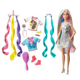 Poupée Barbie - Cheveux Fantastiques avec Looks Sirène et Licorne