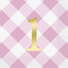 Pink Gingham 1st Birthday Serviettes de Table, 16un