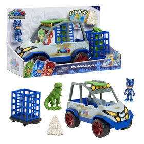PJ Masks Dino Trouble Off Roader Rescue Vehicle, Includes Dinosaur and Catboy Figures - English Edition