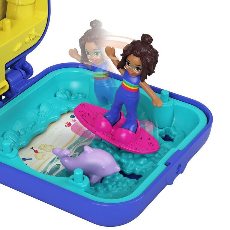 Polly Pocket Shani Tropical Beach Compact with Mobile Ice Cream Cart Surfboard Dolphin Figure Photo Customization Micro Shani Doll & Sticker Sheet