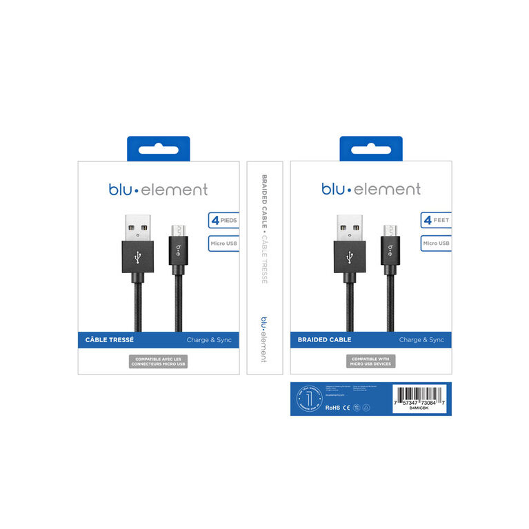 Blu Element Braided Micro USB Cable 4ft Black
