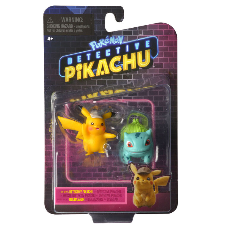"Detective Pikachu Battle Figure Packs - 2"" Pikachu #2 & 2"" Bulbasaur"