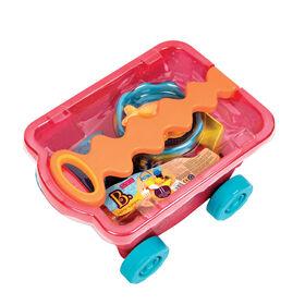 Chariot de plage rouge clair et accessoires, B. Toys