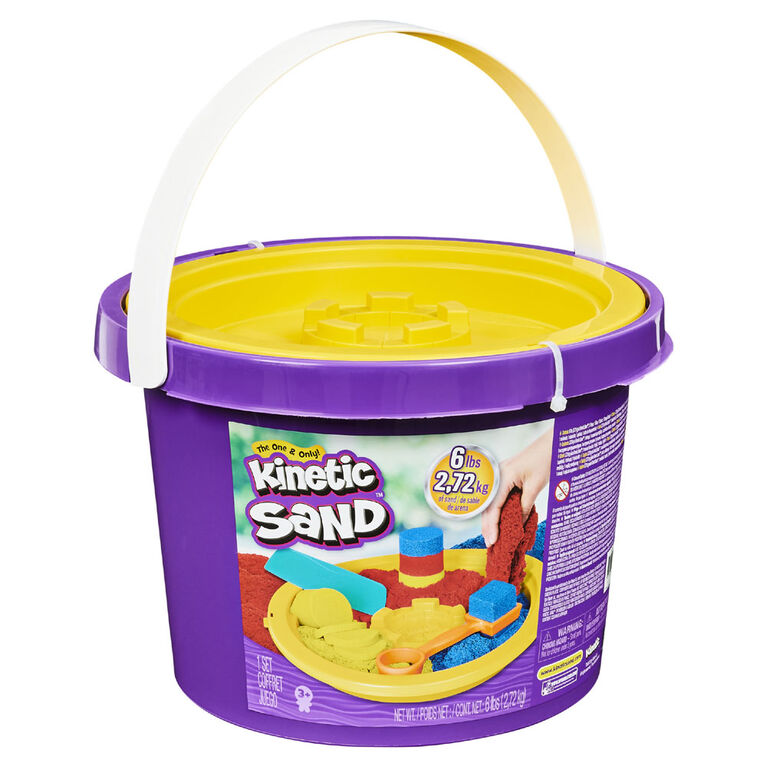 Kinetic Sand, 6lbs Bucket with 3 Colors of Sand and 3 Tools for Endless Creative Play - R Exclusive