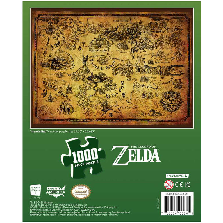 """The Legend of Zelda """"Hyrule Map"""" 1000 Piece Puzzle - English Edition"""