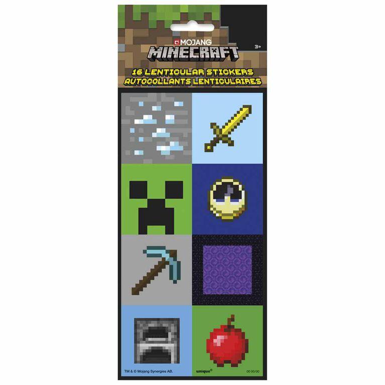 16 Autocollants Lenticulaires Minecraft