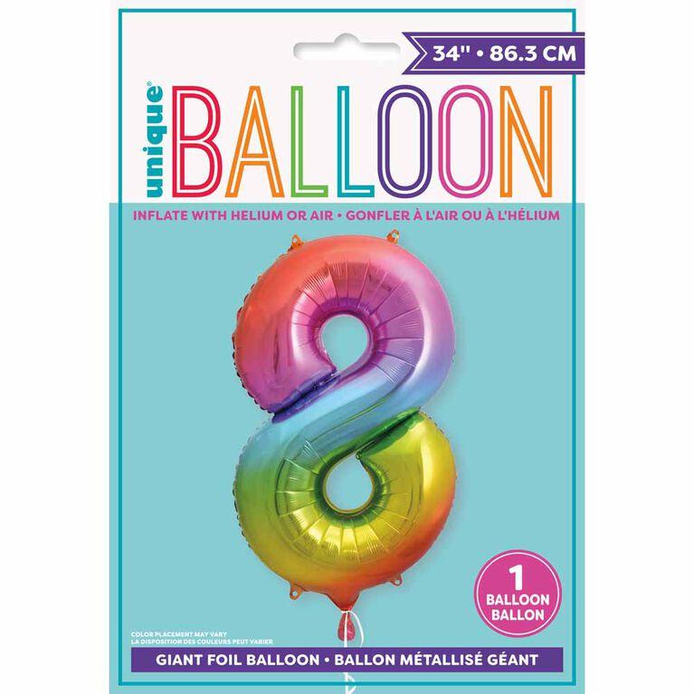 "Ballon en aluminium en forme de nombre arc-en-ciel 34 "" - 8"