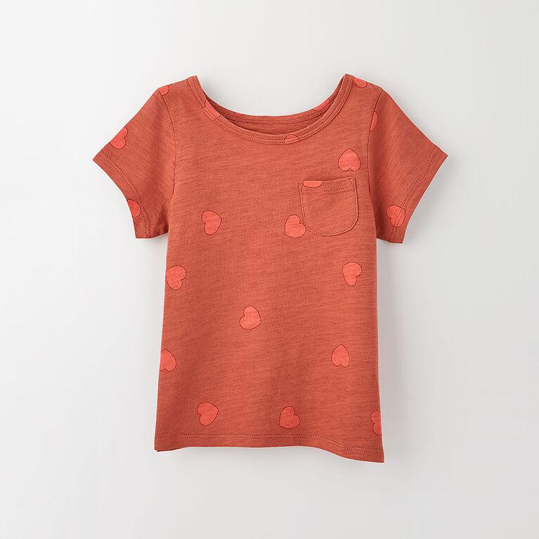 simple roll-sleeve pocket tee, 3-4y - rust print