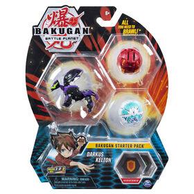 Bakugan Starter Pack 3-Pack, Darkus Kelion, Collectible Action Figures