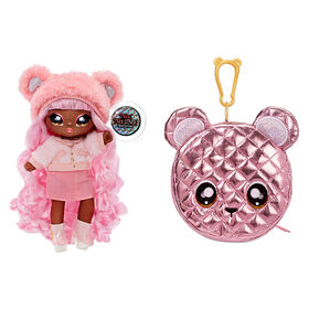 Na Na Na Surprise 2-in-1 Fashion Doll and Metallic Purse Glam Series - Cali Grizzly, Pink Hair Doll with Pink Bear Purse