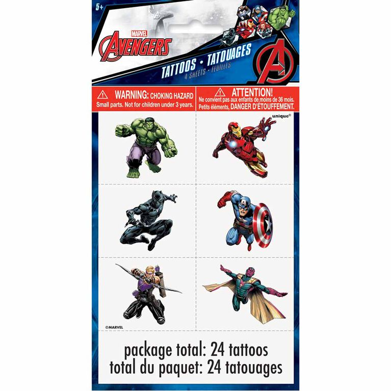 Avengers Color Tattoo Sheets, 4 pieces