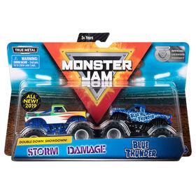 Monster Jam, Official Blue Thunder vs. Storm Damage Die-Cast Monster Trucks, 1:64 Scale, 2 Pack