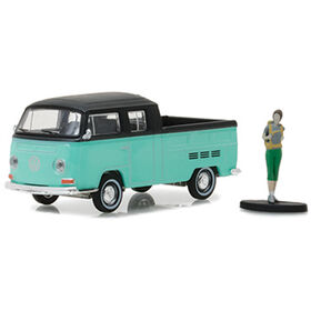 "1:64 The Hobby Shop Series 2 - Volkswagen Type 2 Crew Cab Pick-Up ""Doka"" with Backpacker"