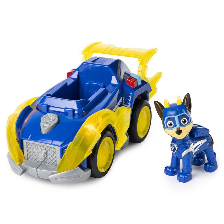 PAW Patrol, Mighty Pups Super PAWs, Véhicule de luxe de Chase avec effets sonores et lumineux