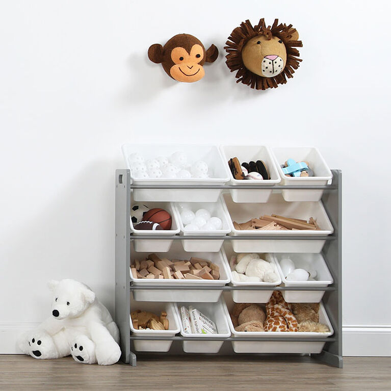 Inspire Toy organizer (grey rack, white bins)