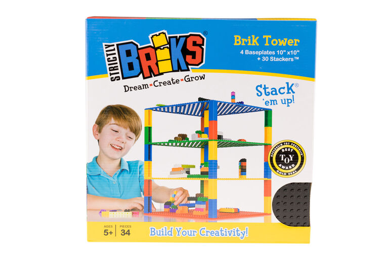 "Strictly Briks - Brik Tower - 10"" x 10"" - 32 x 32 pegs - 4 Baseplates & 30 Stackers - Black, Blue, Gray, Light Gray"