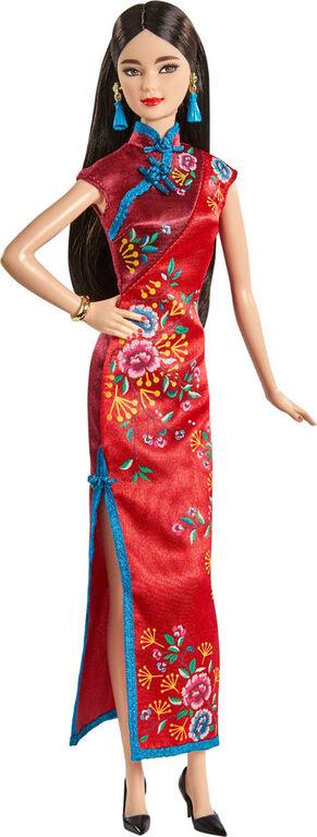 Poupée Barbie Nouvel An Chinois en Robe Qipao