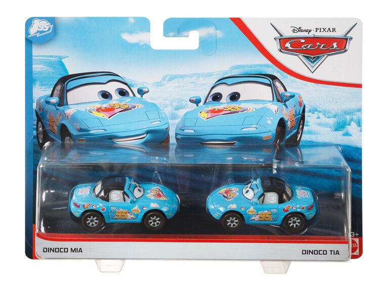"""Bolides de course jouets Mia """"Dinoco"""" et Tia """"Dinoco"""" du film """"Les Bagnoles"""" de Disney/Pixar"""