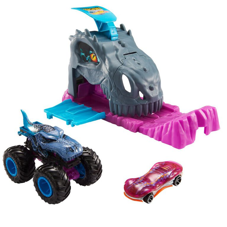 Hot Wheels - Monster Trucks - Coffrets de jeu Puits et lancement - Bone Shaker