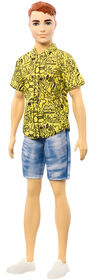 Ken Fashionistas Doll #139 with Red Hair and Graphic Yellow Shirt