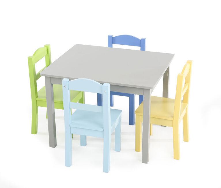 Tot Tutors Kids Wood Table & 4 Chairs Set, Elements - Grey/Multi