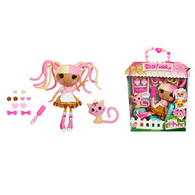 """Lalaloopsy Silly Hair Doll - Scoops Waffle Cone with Pet Cat, 13"""" ice cream theme hair styling doll"""