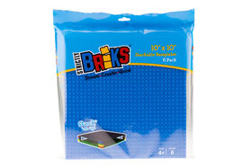 """Strictly Briks - Stackable Baseplates - 10"""" x 10"""" - 32 x 32 pegs - 6 Baseplates - Blue, Gray, Green"""