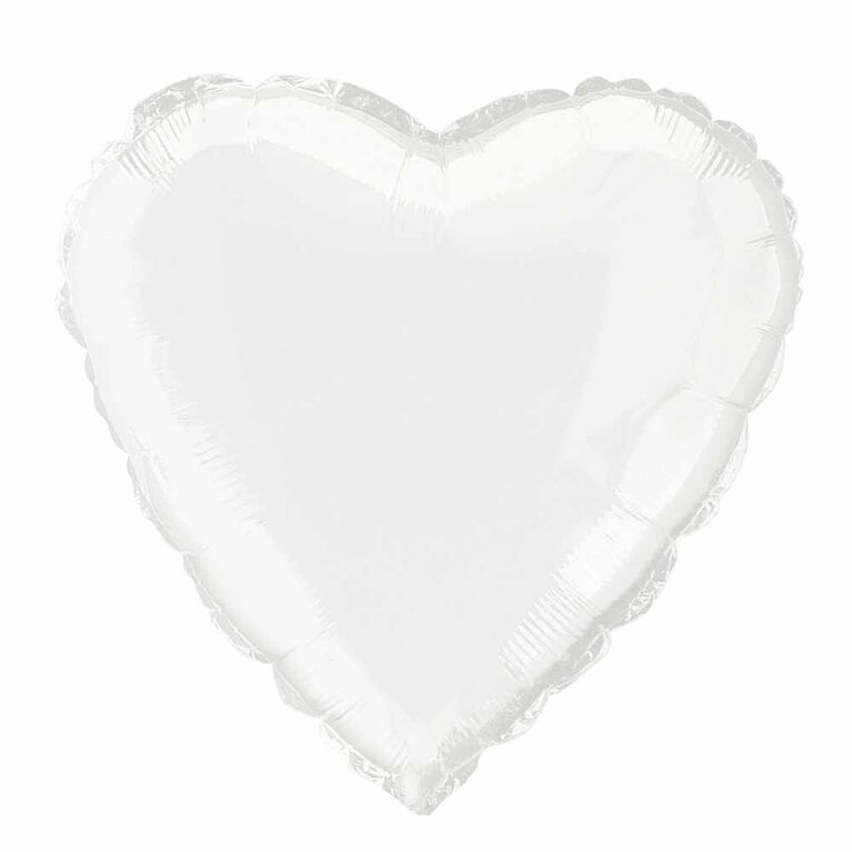 """Solid Heart Foil Balloon 18"""" White"""