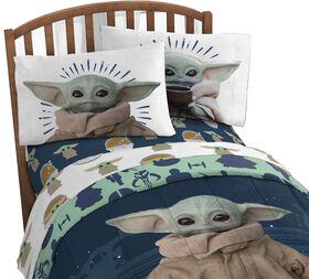 L'Enfant Baby Yoda Ensemble de draps pour lit 1 place.