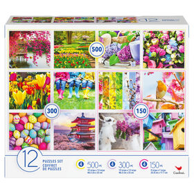 Family 12-Pack of Jigsaw Puzzles for Adults and Kids, Colorful