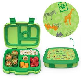 Bentgo Kids Prints Leak-Proof, 5-Compartment Bento-Style Kids Lunch Box - SAFARI