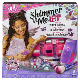 Cool Maker, Shimmer Me Body Art with Roller, 4 Metallic Foils and 180 Designs, Temporary Tattoo