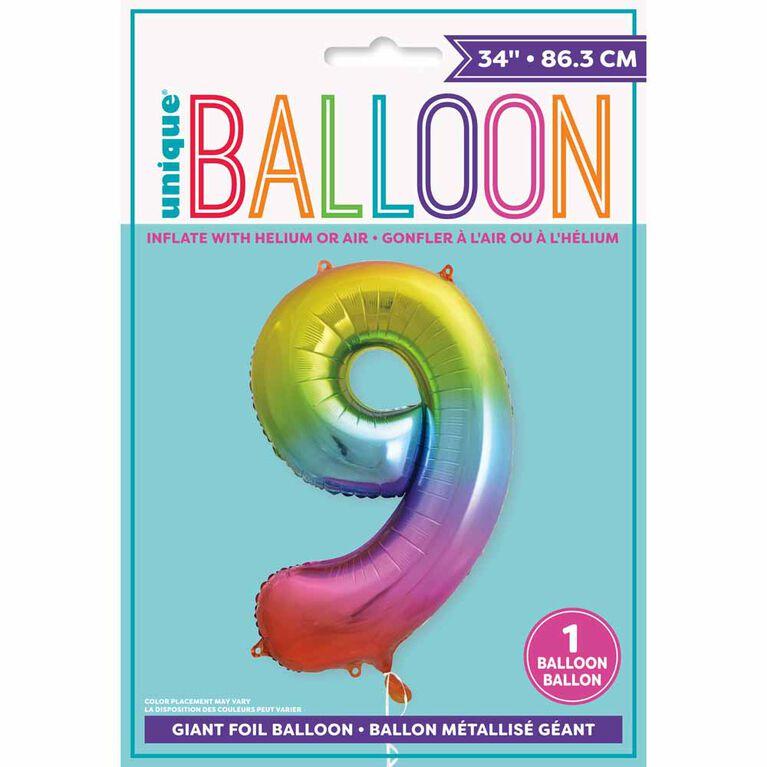 "Ballon en aluminium en forme de nombre arc-en-ciel 34 "" - 9"