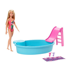 Barbie Doll, 11.5-inch Blonde, and Pool Playset with Slide and Accessories