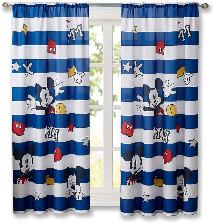 Disney Mickey Mouse Window Curtains for Kids, Set of 2 Panels