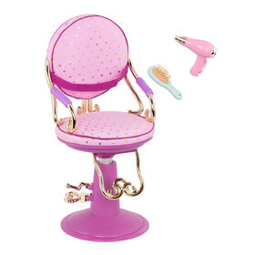 Our Generation, Sitting Pretty Salon Chair, Hairstyling Playset for 18-inch Dolls
